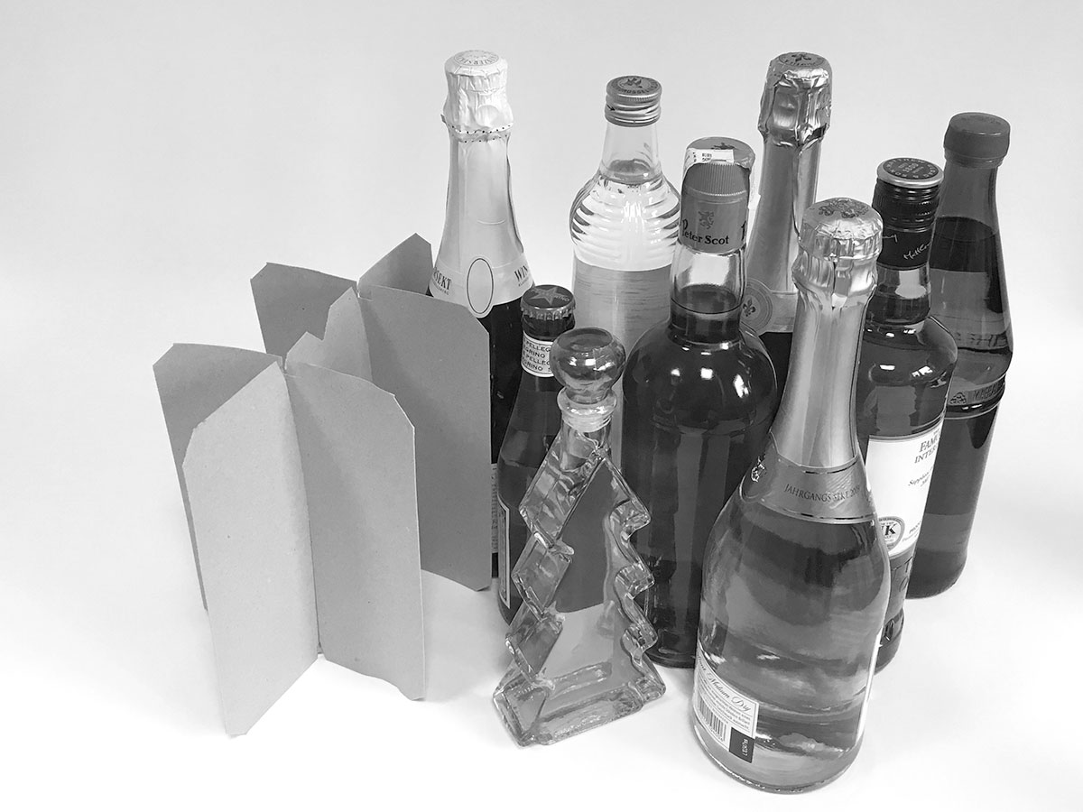 Transport and protective packaging, grid inserts and cardboard boxes for beverages, compartment packaging, packaging beverages, beverage packaging, compartments, custom-made compartments, custom-made packaging, purchasing beverage packaging - MÖLLE GmbH